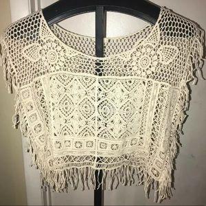 Mystree Anthropologie M Crochet Sleeveless Fringe